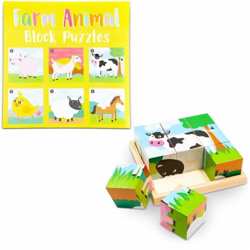 Wood Farm Animal Block Puzzles with Tray for Toddlers Kids (6 in 1), 6 Designs Perspective: front