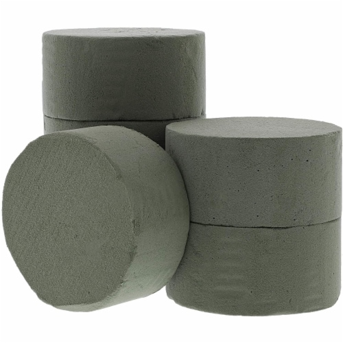 Floral Foam Cylinder for Fresh Flower Arrangements (3.75 x 1.8 in, 6-Pack) Perspective: front