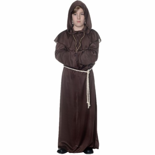 Underwraps UR25876SM Child Monk Robe Costume, Brown - Small - Size 4-6 Perspective: front
