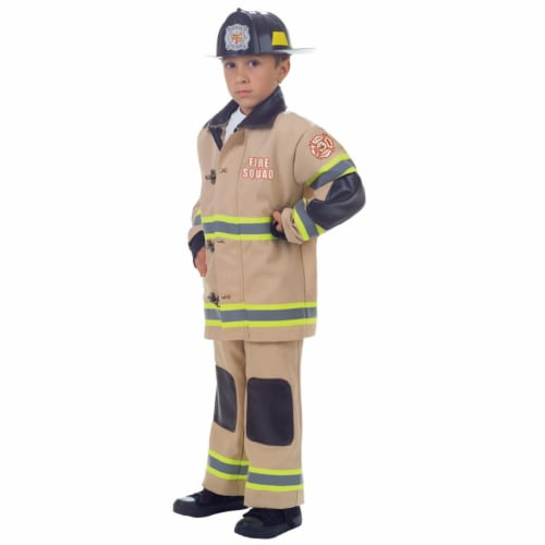 Underwraps UR25988SM Childs Firefighter Costume, Tan - Small - Size 4-6 Perspective: front