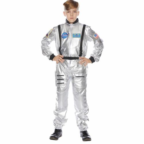 Underwraps UR25725MD Childs Astronaut Costume, Silver - Size 6-8 Perspective: front