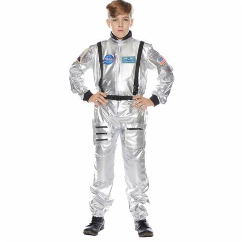 Underwraps UR25725SM Childs Astronaut Costume, Silver - Size 4-6 Perspective: front
