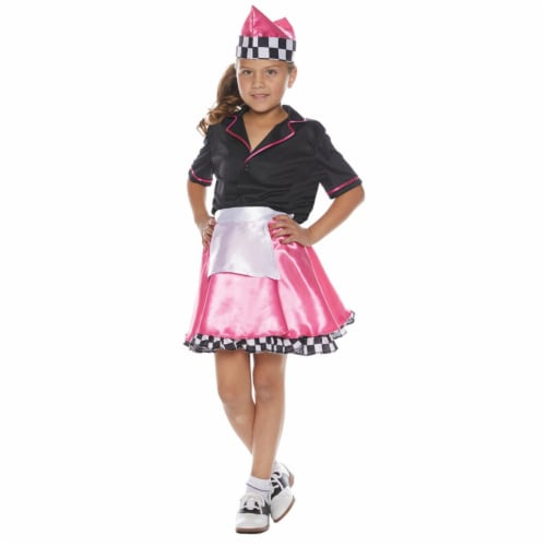 Underwraps UR25733SM Girls 1950s Car Hop Costume, Small - Size 4-6 Perspective: front