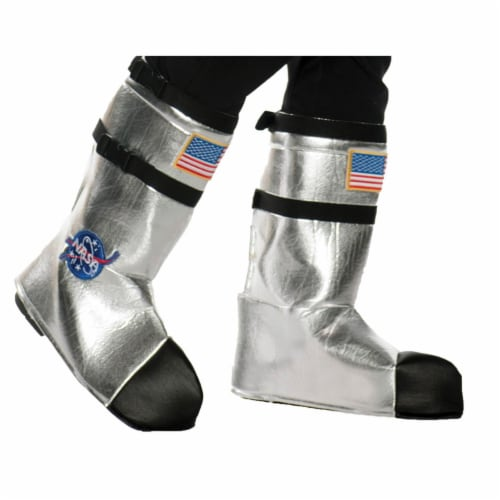 Underwraps UR25737 Kids Astronaut Boot Top Covers, Silver - One Size Perspective: front