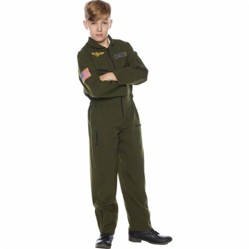 Underwraps UR25722LG Child Flight Suit Costume - Khaki,Large Perspective: front