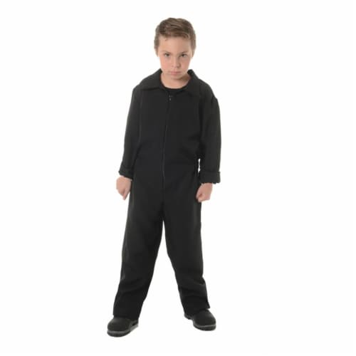 Morris Costumes UR27625BKLG Child Boiler Suit, Black - Large 10-12 Perspective: front