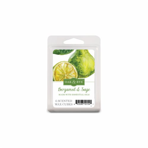 Oak & Rye Bergamot and Sage Wax Cube Melts - White Perspective: front