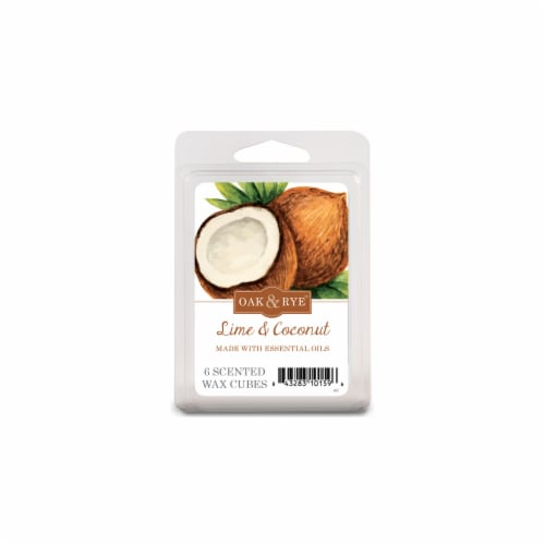 Oak & Rye Lime and Coconut Wax Cube Melts - White Perspective: front