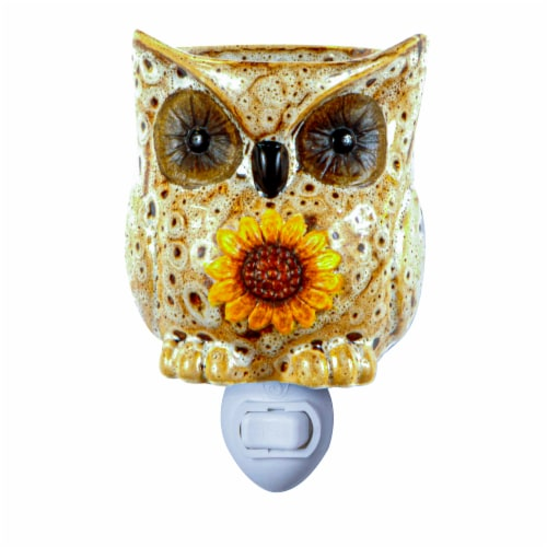 Oak & Rye Spotted Owl Mini Wax Warmer - Brown/White Perspective: front