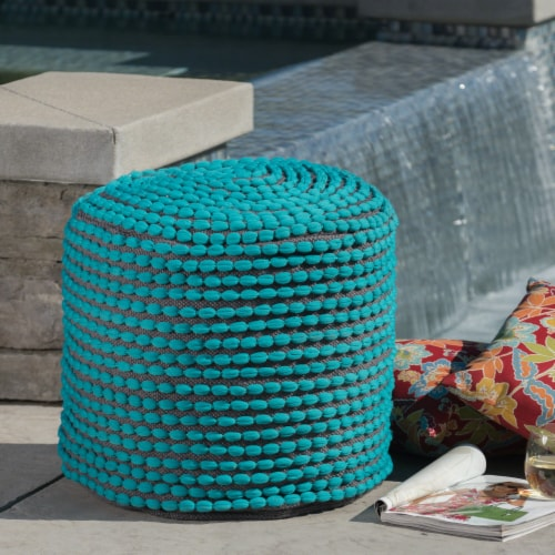 Collier Outdoor Turquoise Fabric Round Pouf Ottoman Perspective: front