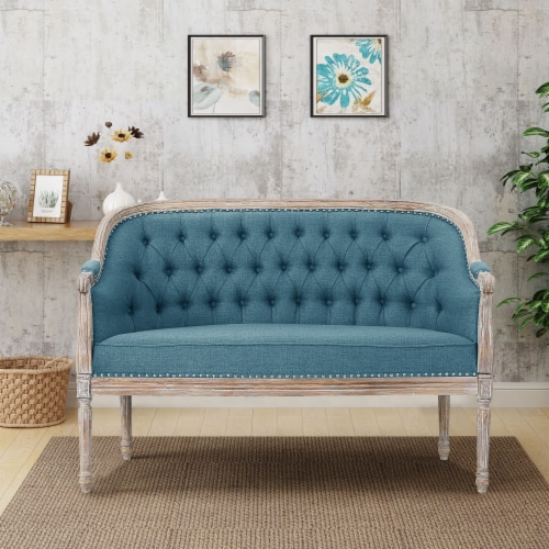 Megan Classical Fabric Tufted Loveseat Perspective: front