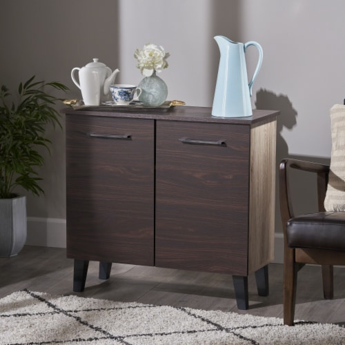 Willson Modern 3-Shelf Walnut Finished Faux Wood Cabinet with Oak Accent Perspective: front
