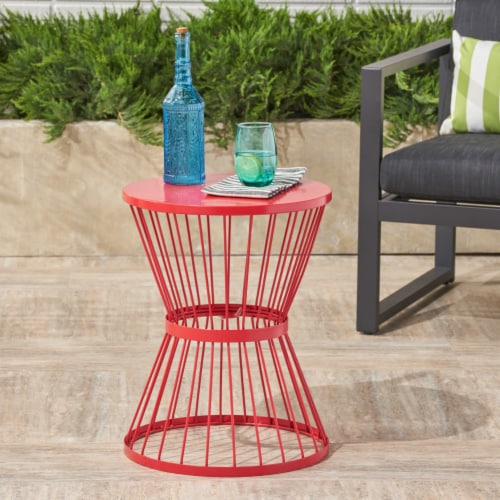 Fern Outdoor 16 Inch Iron Side Table Perspective: front