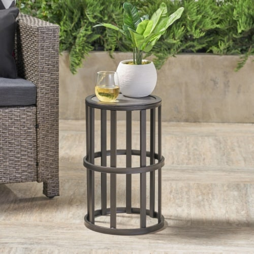 Truda Outdoor 11 Inch Grey Finish Ceramic Tile Side Table Perspective: front