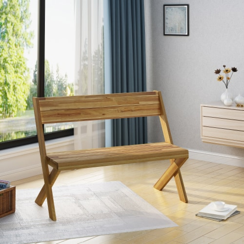 Irene Indoor Farmhouse Acacia Wood Bench Perspective: front