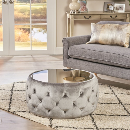 Ivy Glam Velvet and Tempered Glass Coffee Table Ottoman Perspective: front