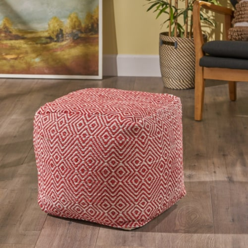 Adkins Indoor Modern Boho Pouf, Ivory with Red Perspective: front