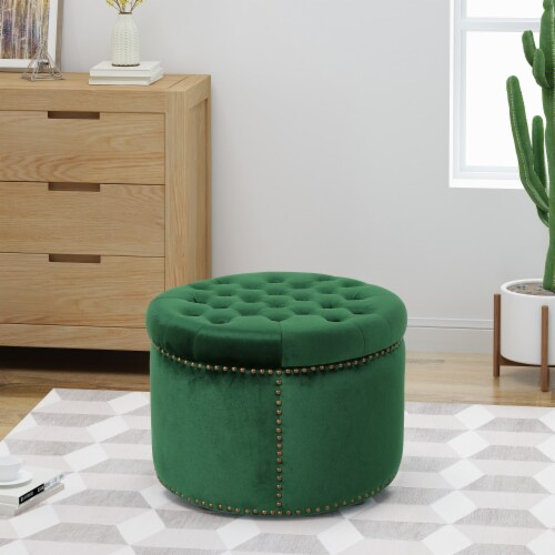 Carlos Glam Velvet Tufted Ottoman Perspective: front