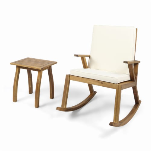Alize Outdoor Acacia Wood Rocking Chair and Table Set, Teak and Creams Cushions Perspective: front