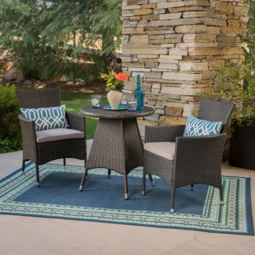 Frank Outdoor 3 Piece Wicker Bistro Set, Grey with Silver Cushions Perspective: front