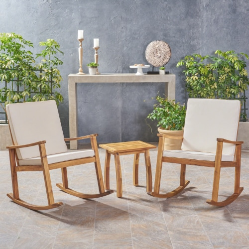 Cole Outdoor Acacia Wood Rocking Chair and Table Set Perspective: front