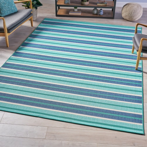 Philip Indoor Geometric  Area Rug, Blue and Green Perspective: front