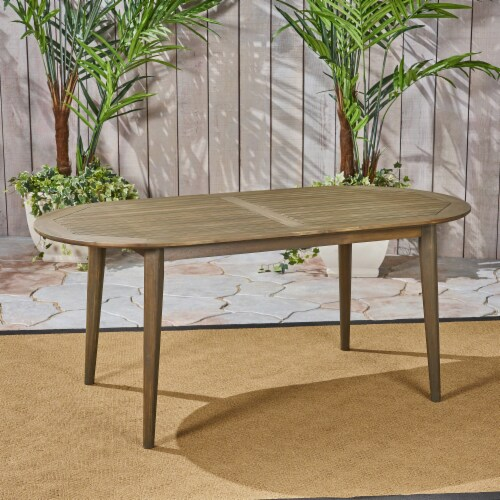 Stanford Outdoor Wood Oval Dining Table Perspective: front