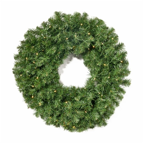 Alia Christmas Wreath  24-inch  Noble Fir  Battery-Operated, Includes Timer  Warm White LED Perspective: front