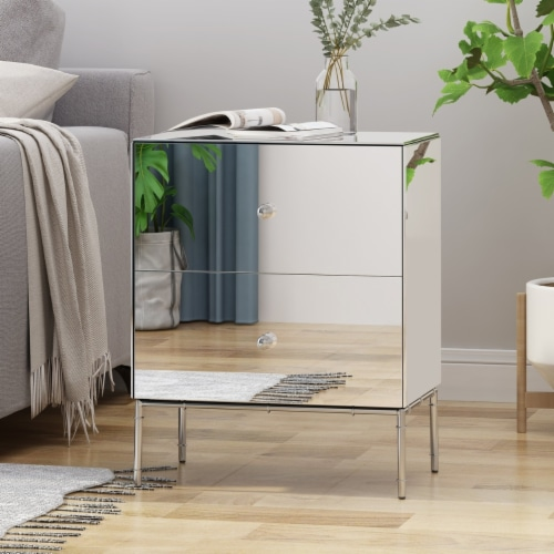 Althea Modern Mirrored Two Drawer Cabinet Perspective: front