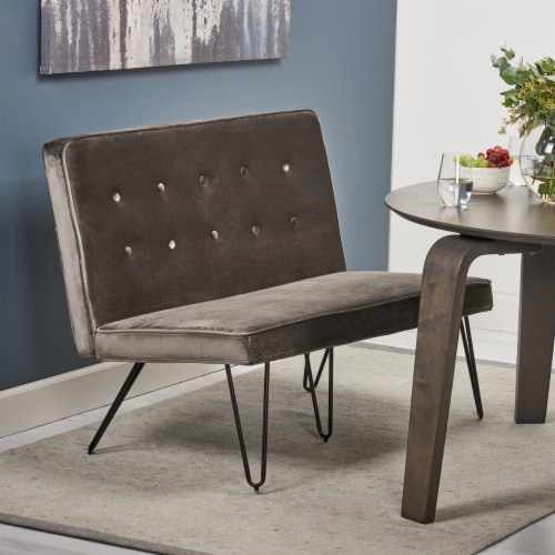 Beatrice Minimalist Dining Bench Settee with Tufted Velvet Cushion and Iron Legs - Cobalt and Perspective: front