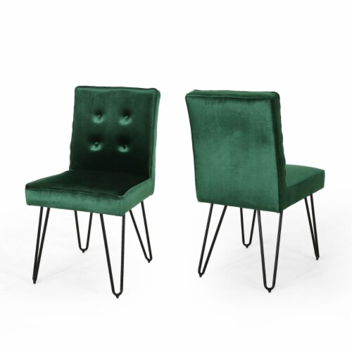 Natalie Glam Tufted Velvet Dining Chairs with Iron Legs  (Set of 2) Perspective: front