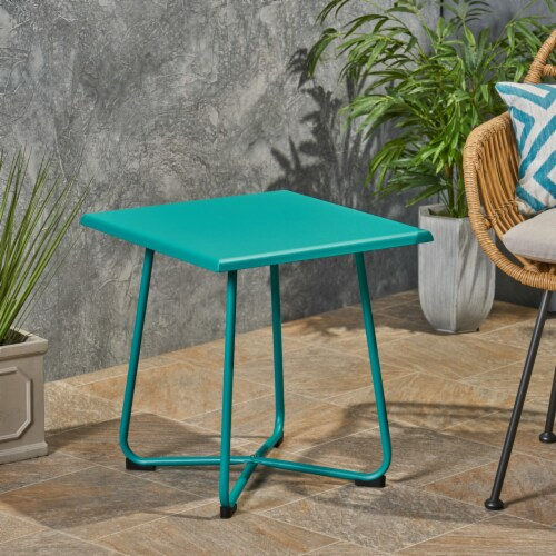 """Terry Outdoor Modern 18"""" Side Table with Steel Legs Perspective: front"""