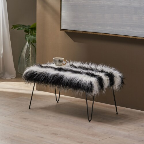 Louise Faux Fur Bench with Hairpin Legs Perspective: front