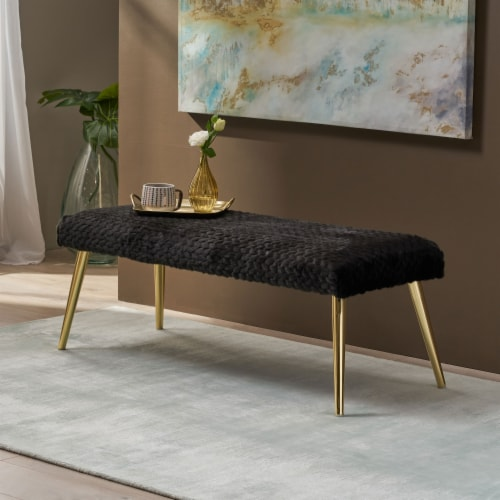 Indira Patterned Faux Fur Bench Perspective: front