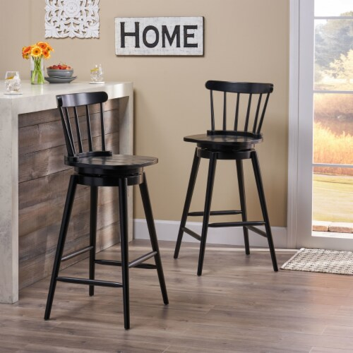 """Mia Farmhouse Spindle Back 30"""" Rubberwood Swivel Barstools (Set of 2) Perspective: front"""