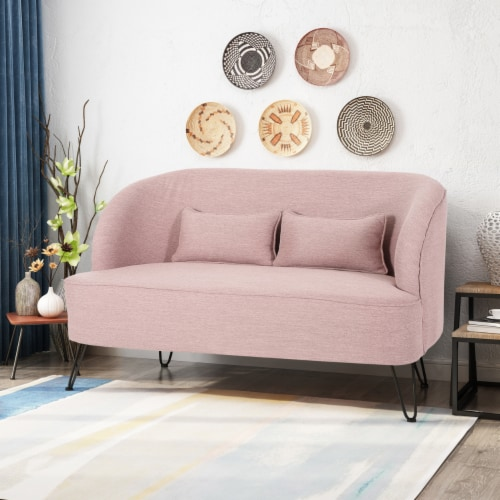 Jordan Modern Fabric Loveseat with Hairpin Legs Perspective: front
