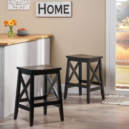 Candice Contemporary Farmhouse Wooden Barstools (Set of 2) Perspective: front