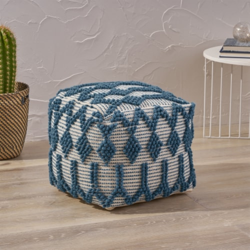 Jessie Boho Cube Wool and Cotton Pouf Perspective: front