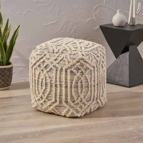 Poppy Boho Wool and Cotton Ottoman Pouf Perspective: front
