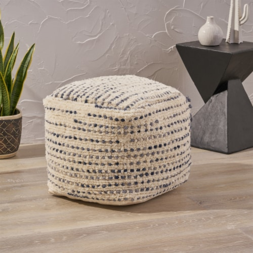 Leila Boho Wool and Cotton Ottoman Pouf Perspective: front