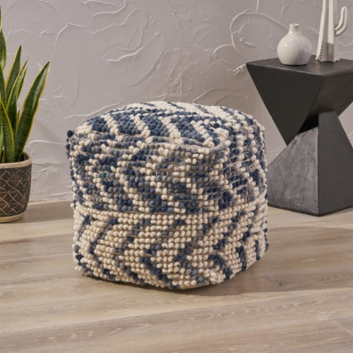 Bonnie Boho Wool and Cotton Large Ottoman Pouf Perspective: front