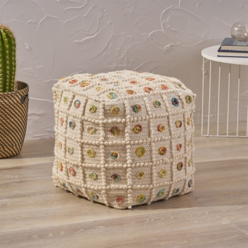 Jocelyn Boho Cube Wool and Cotton Pouf Perspective: front