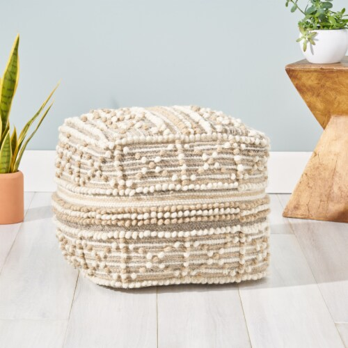 Ishara Boho Cube Wool and Cotton Pouf Perspective: front