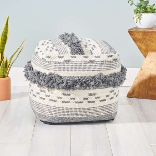 Laura Boho Cube Yarn Pouf Perspective: front