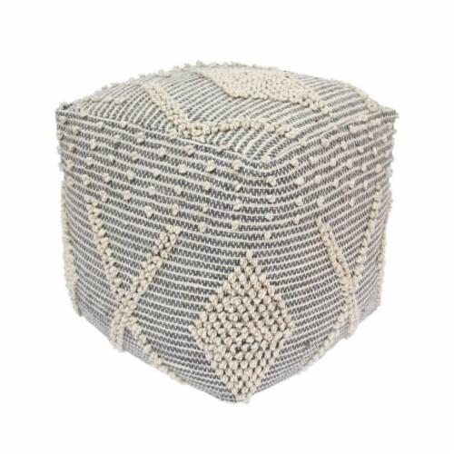 Winnie Boho Cube Yarn Pouf Perspective: front