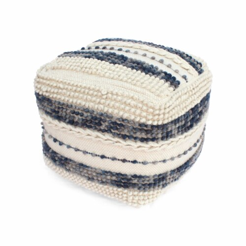 Christal Contemporary Wool and Cotton Pouf Ottoman Perspective: front