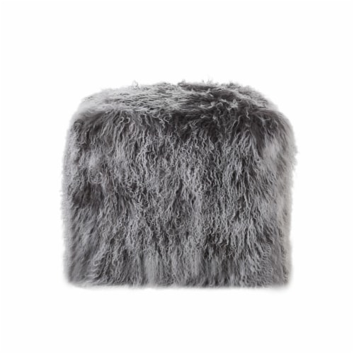 Ingrid Peep Glam Lamb Wool Square Pouf with Filling Perspective: front