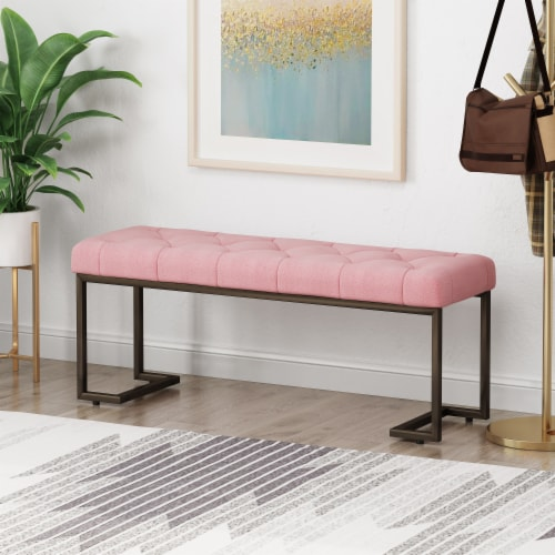 Gladys Modern Fabric Bench Perspective: front
