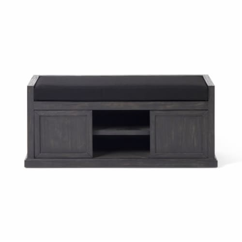 Becky Modern Acacia Wood Storage Bench with Cushion Perspective: front