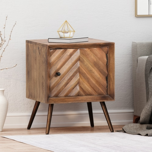 Xaviera Handcrafted Boho Mango Wood Cabinet Perspective: front